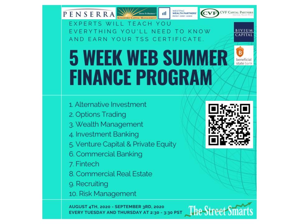 5 Weeks Web Summer Finance Program Flyer
